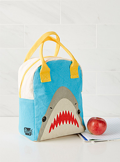 Fluf Assorted Hungry shark organic cotton lunch bag