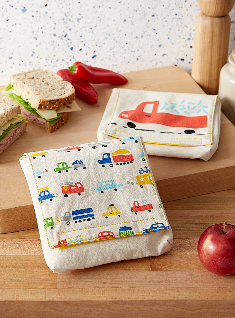 Fluf Assorted Road trip organic cotton sandwich bags  Set of 2