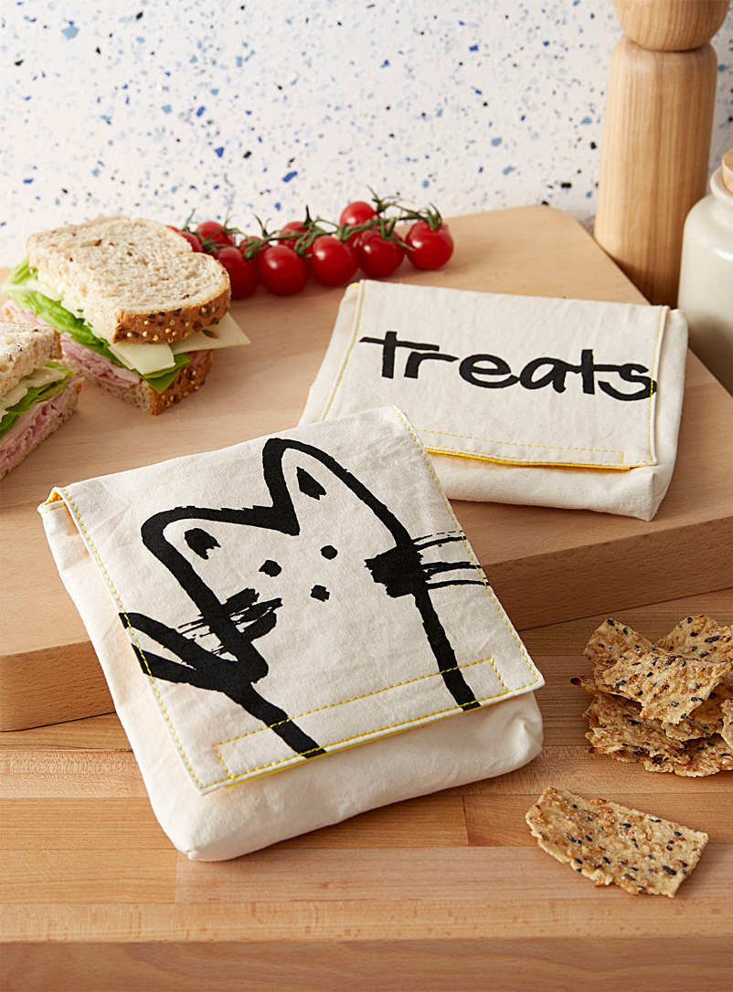 Fluf Assorted Hey cat organic cotton sandwich bags  Set of 2