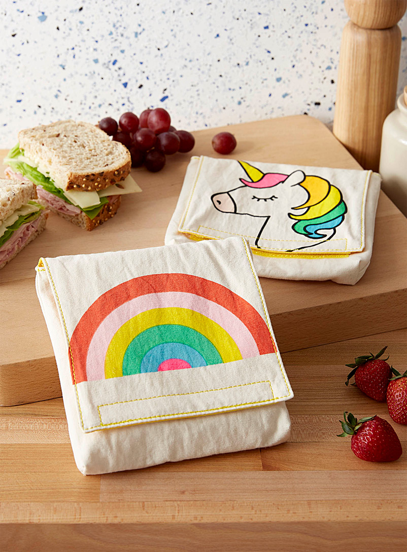 Fluf Assorted Rainbow unicorn organic cotton sandwich bags  Set of 2