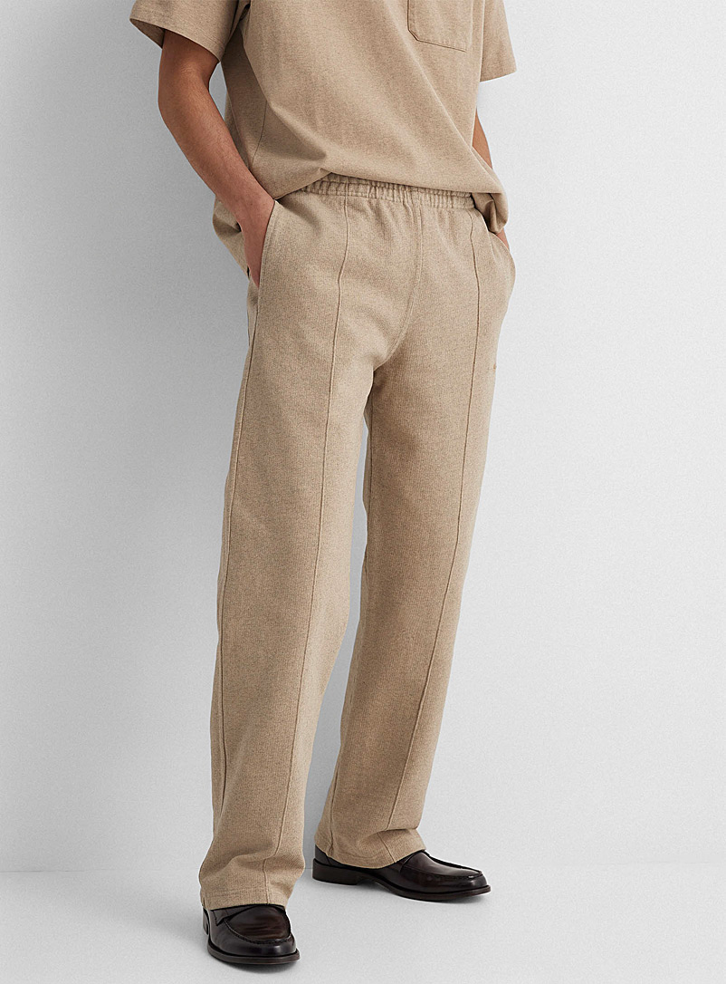 Phipps Cream Beige Embroidered logo jersey pant for men