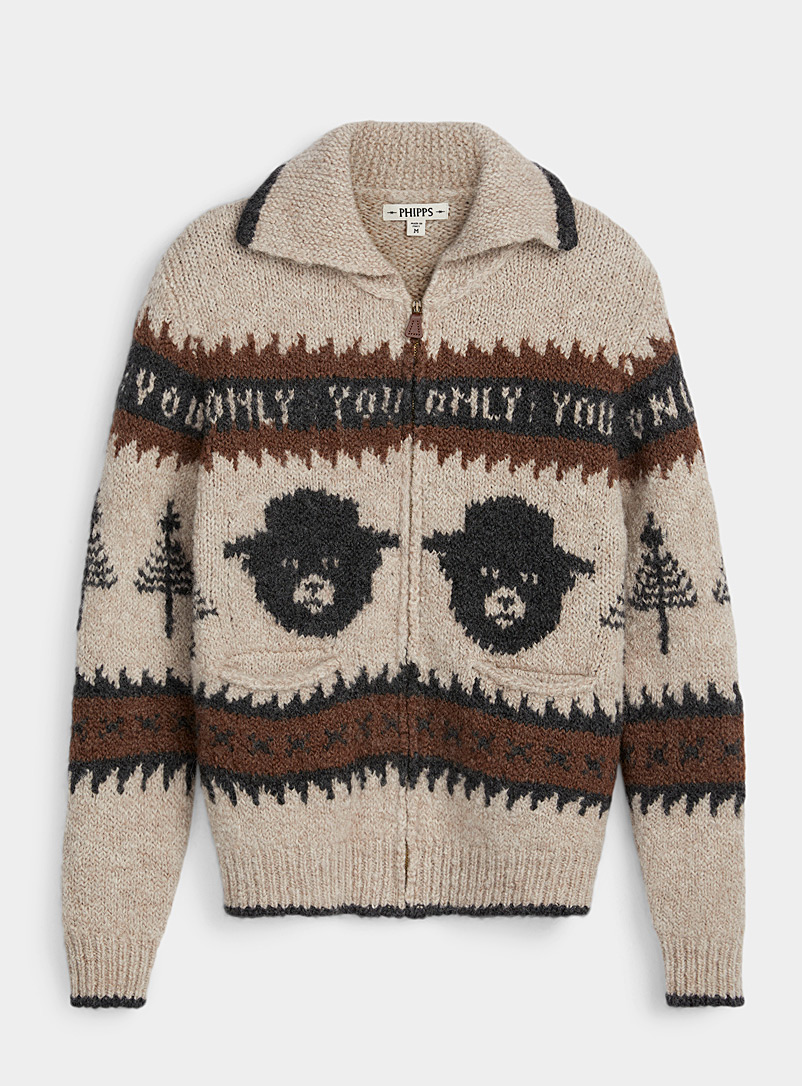 Phipps Brown Smokey Bear cardigan for men