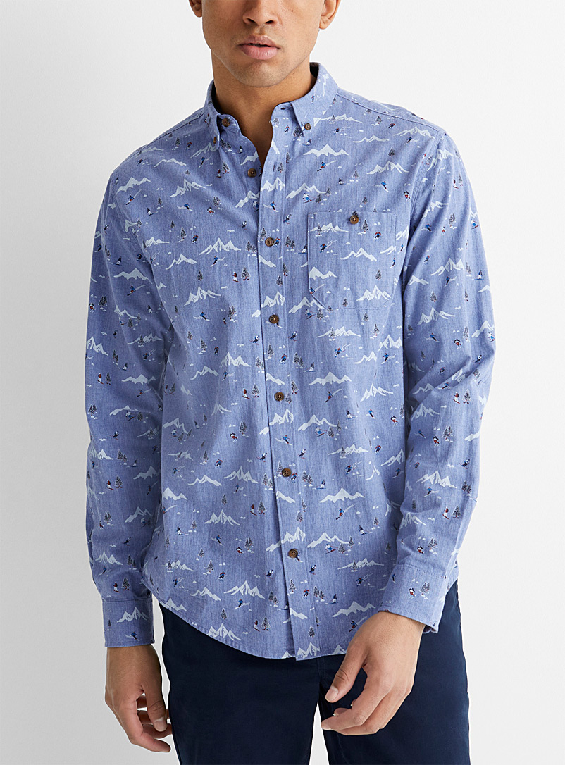 Le 31 Blue Call of the wild shirt  Modern fit for men