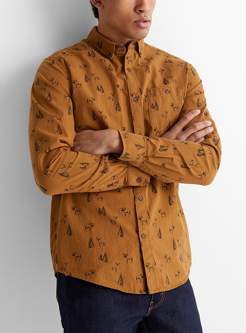 Le 31 Dark Yellow Call of the wild shirt  Modern fit for men