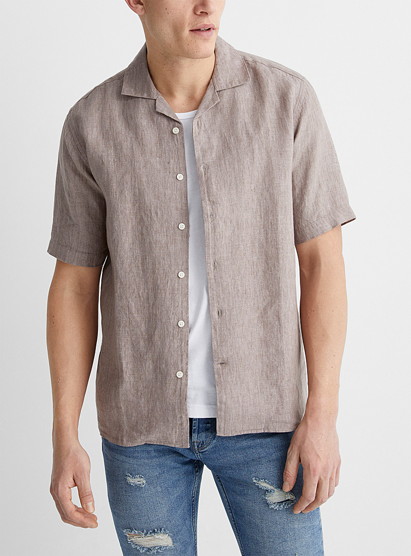 Le 31 Light Brown Pure linen camp shirt Modern fit for men