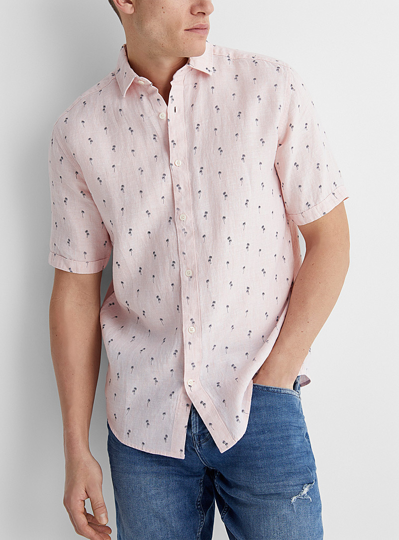 Le 31 Pink Vacation pattern pure linen shirt Modern fit for men
