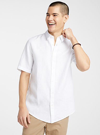 Short-sleeve solid pure linen shirt  Modern fit