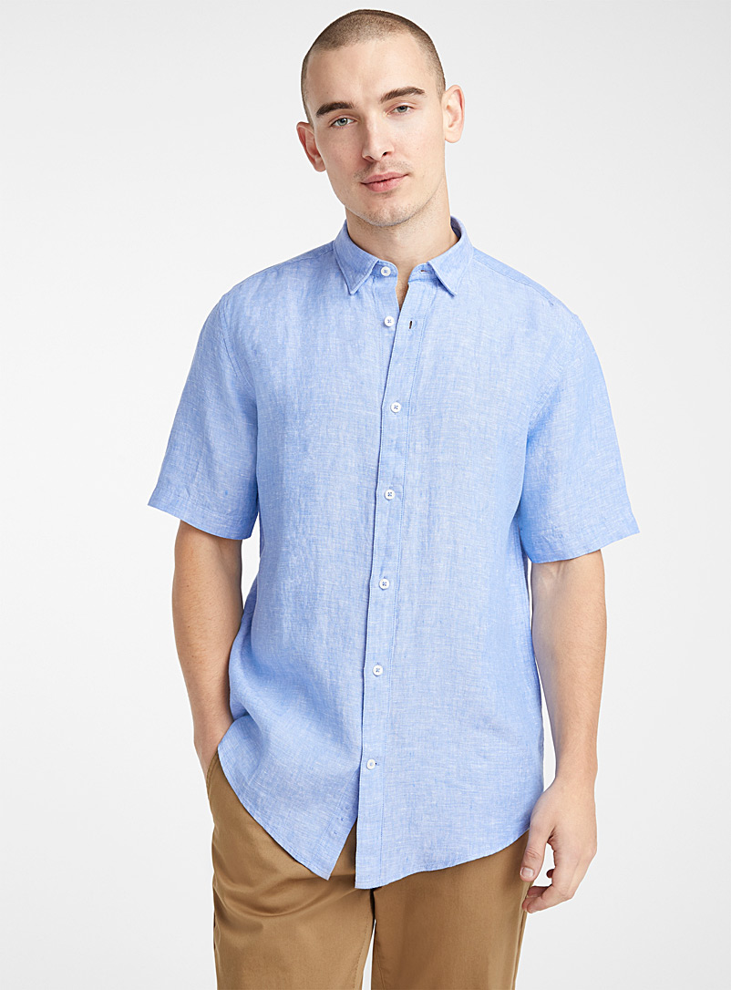 Le 31 Baby Blue Short-sleeve solid pure linen shirt  Modern fit for men