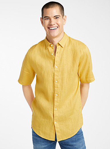 Le 31 Golden Yellow Short-sleeve solid pure linen shirt  Modern fit for men