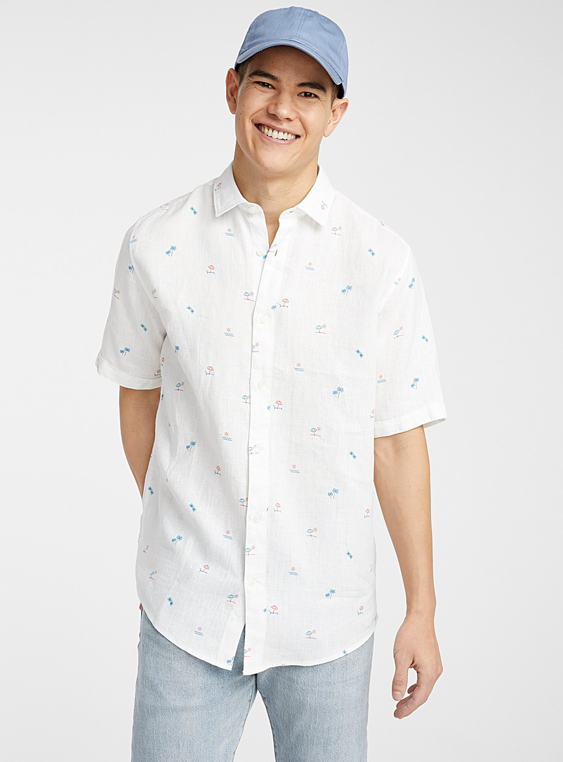 Le 31 White Summery linen shirt  Modern fit for men