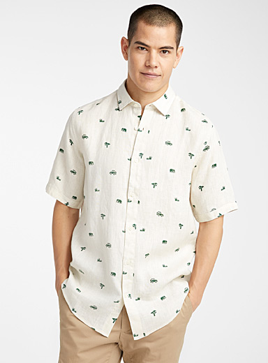 Le 31 Ivory White Summery linen shirt for men