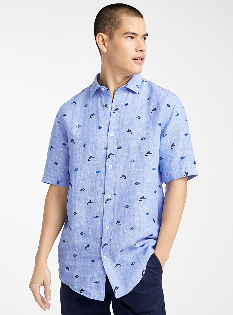 Le 31 Baby Blue Summery linen shirt  Modern fit for men