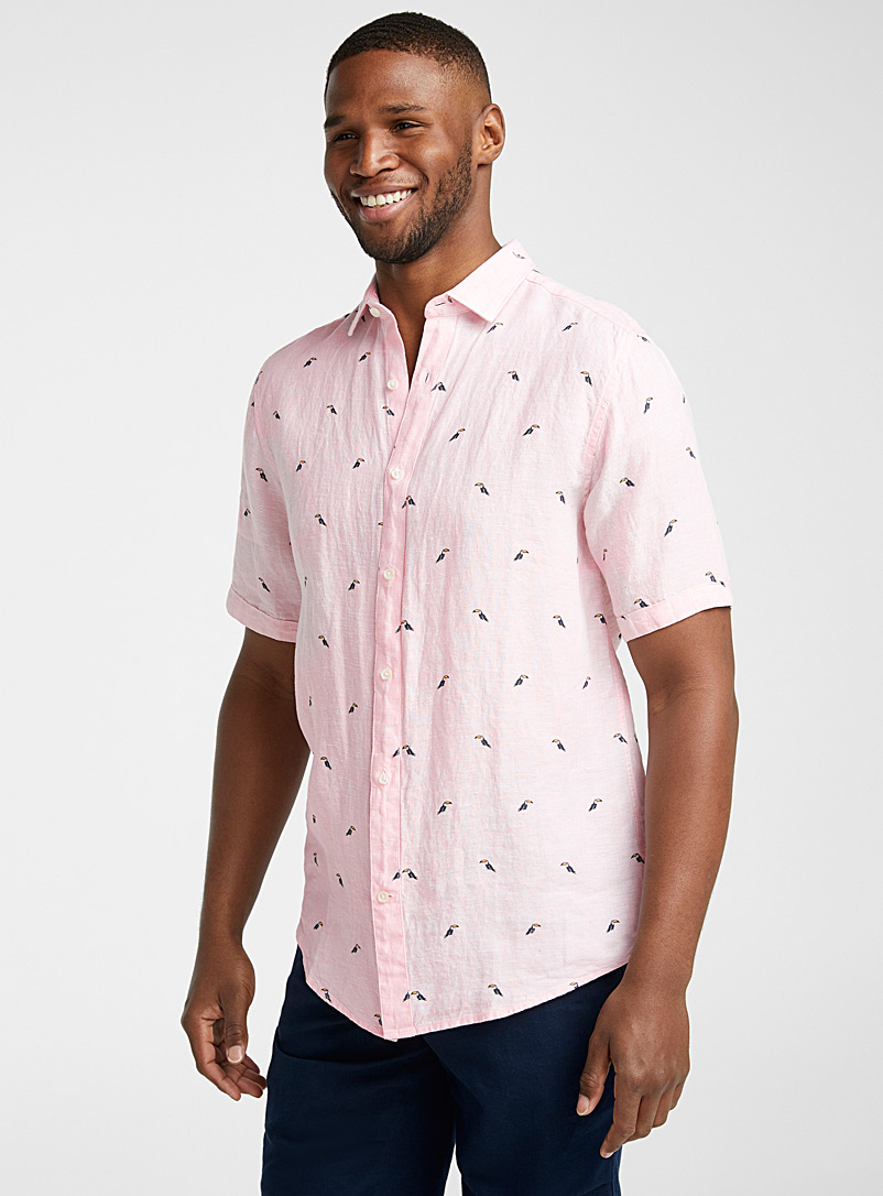 Le 31 Pink Summery linen shirt  Modern fit for men