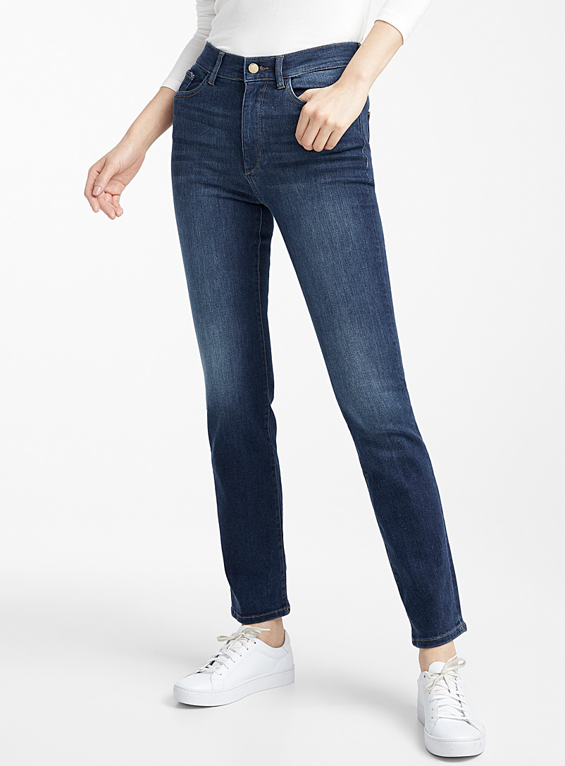 DL1961 Slate Blue Mara medium wash straight jean for women