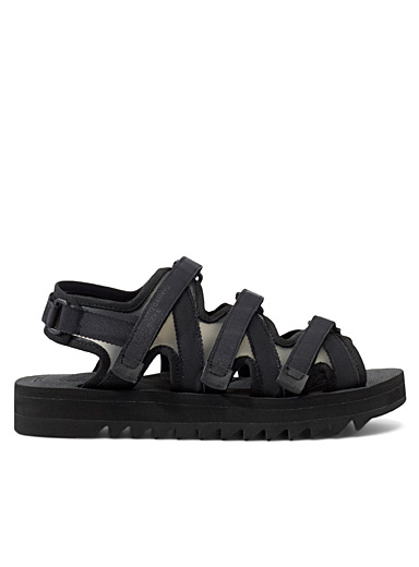 Fumito Ganryu Black Zip-GR sandals for men