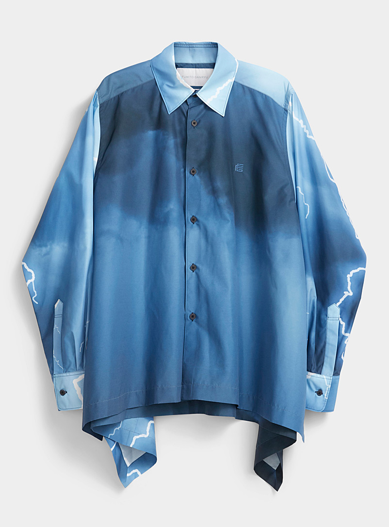 Fumito Ganryu Grey Thunderstorm shirt for men