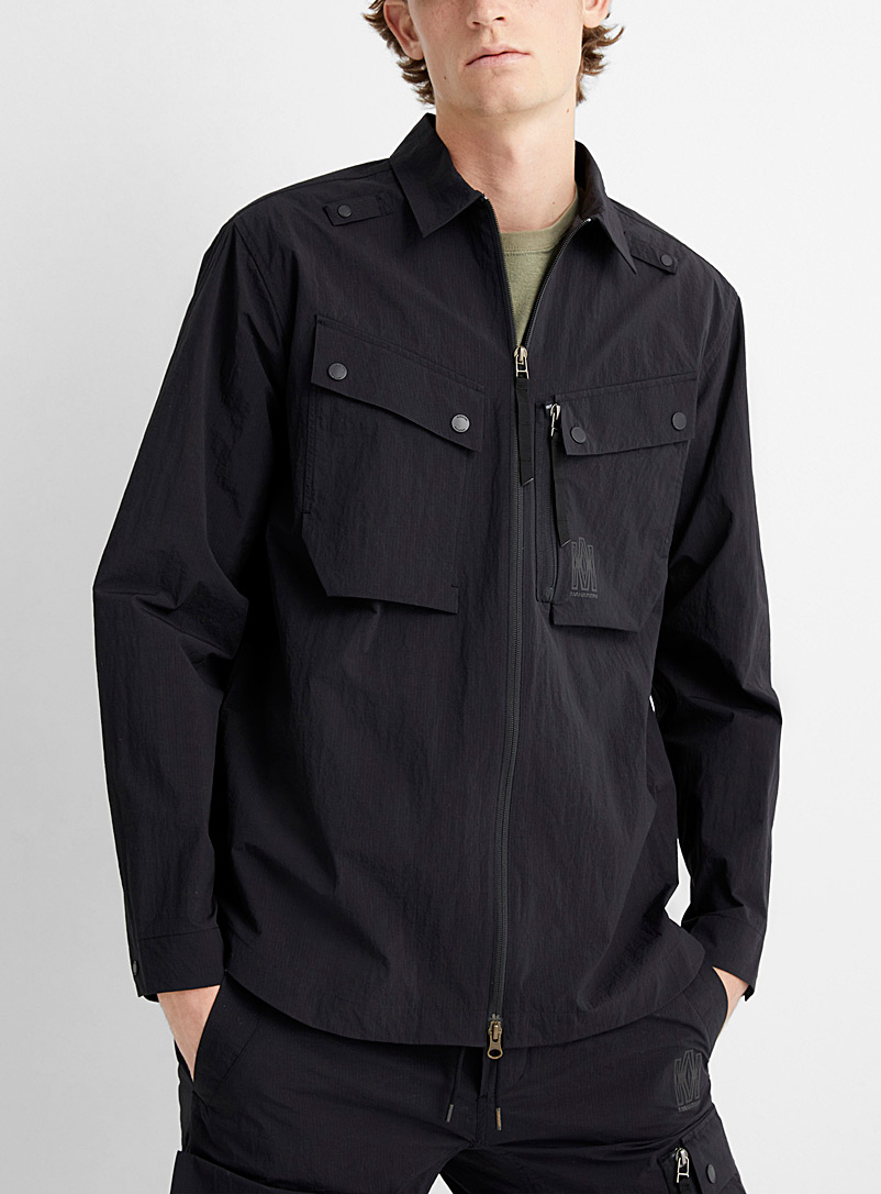 Maharishi Black Veg dyed tech cargo shirt for men