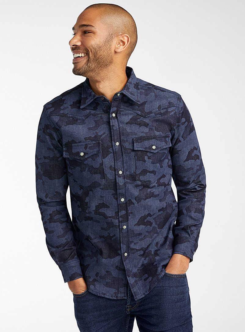 United Colors of Benetton: La chemise western camouflage indigo  Coupe moderne Bleu pour homme