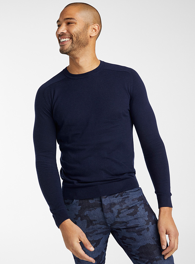 United Colors of Benetton: Le pull col rond couleurs Marine pour homme