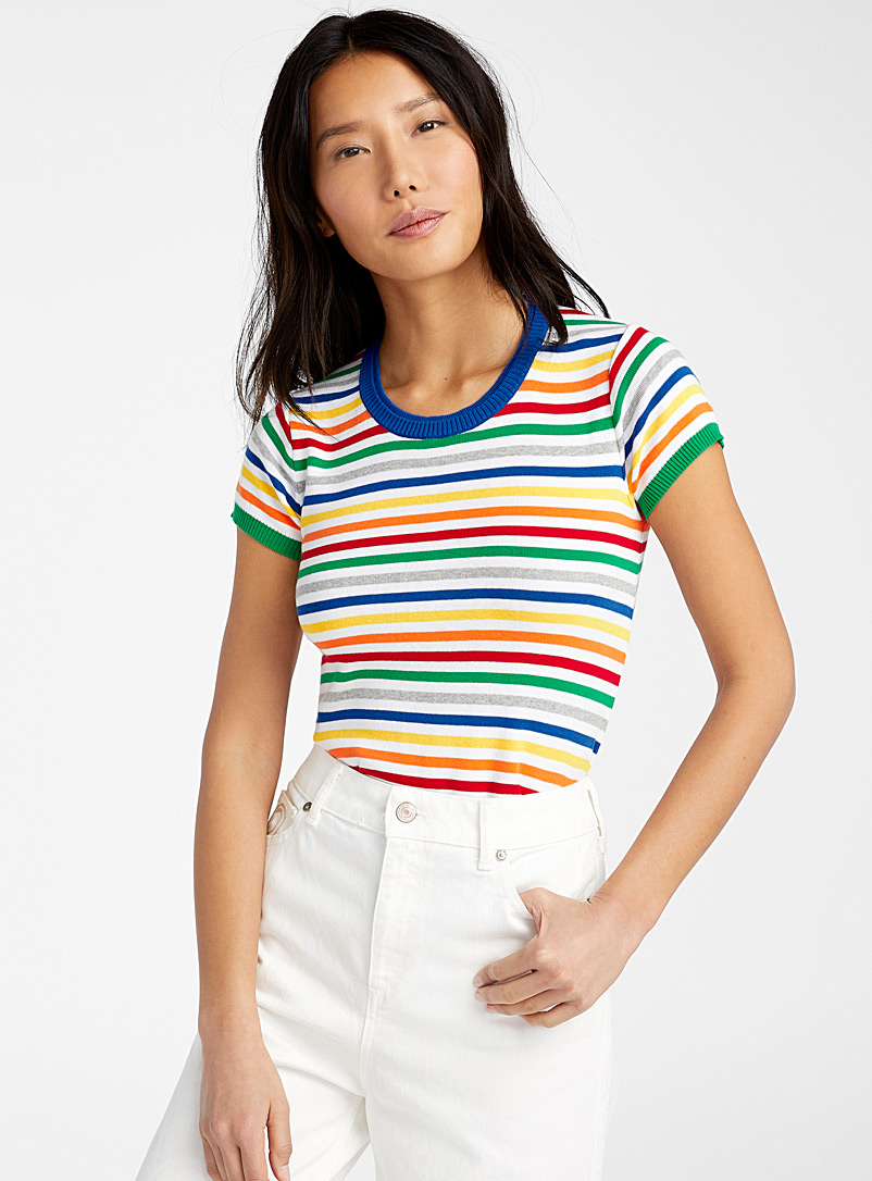 United Colors of Benetton Patterned White Rainbow stripe sweater for women