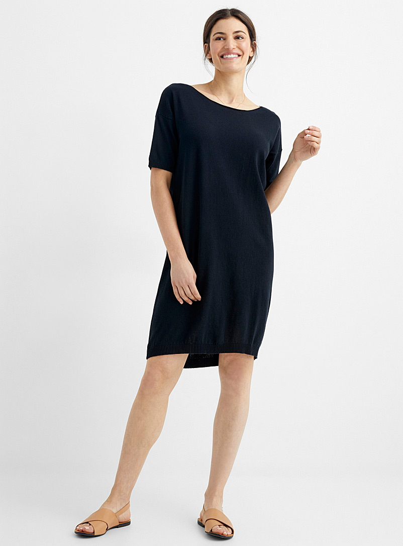 United Colors of Benetton Black Drop-shoulder fine knit dress for women