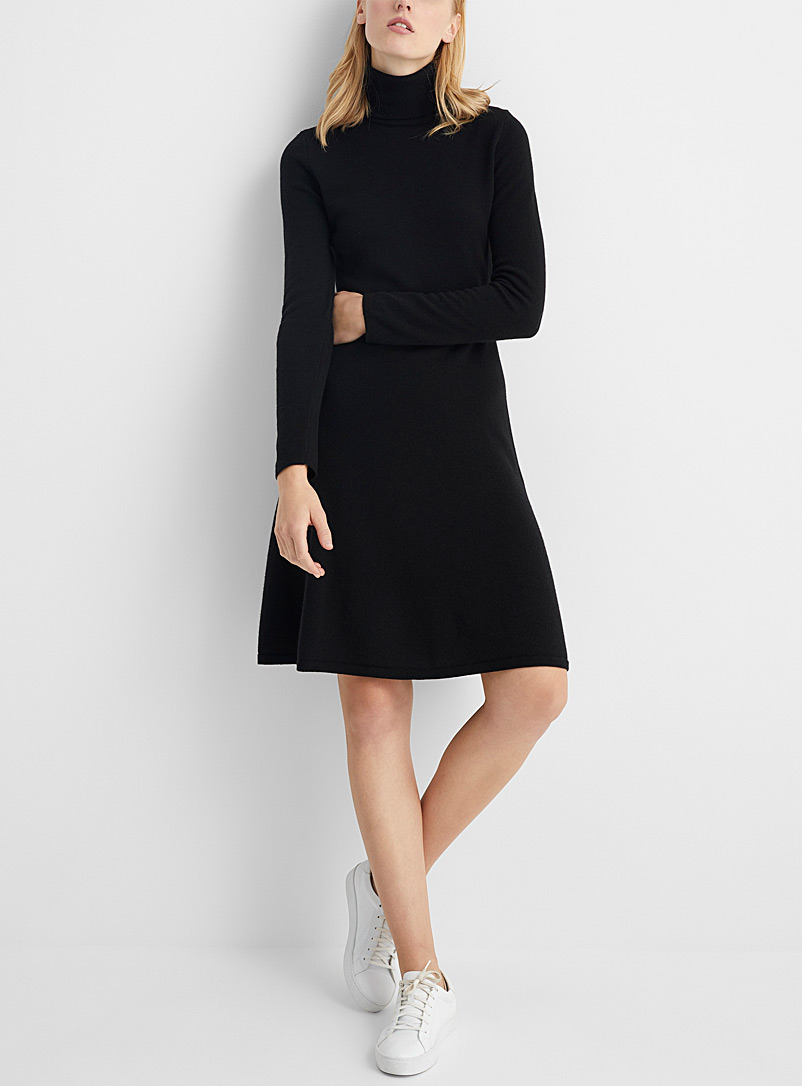 Fit-and-flare turtleneck dress