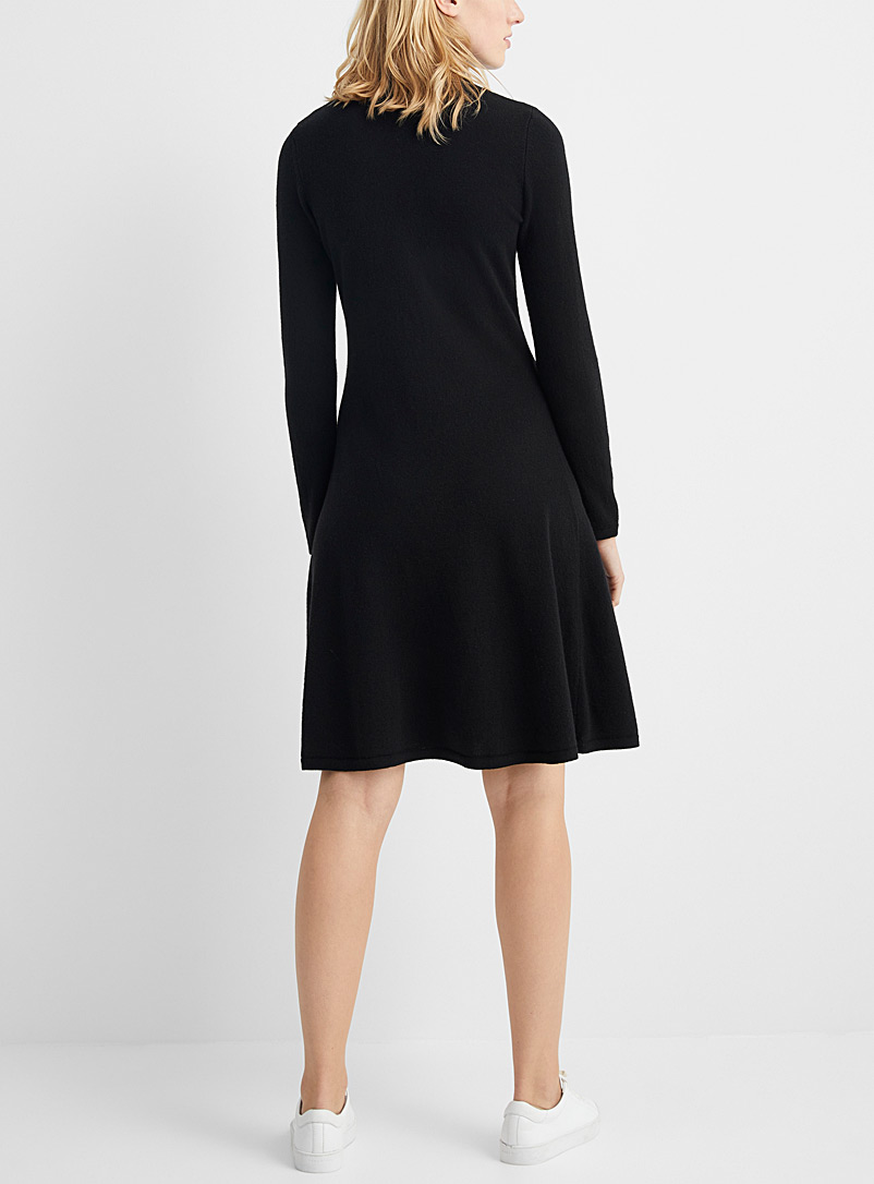 United Colors of Benetton Black Fit-and-flare turtleneck dress for women