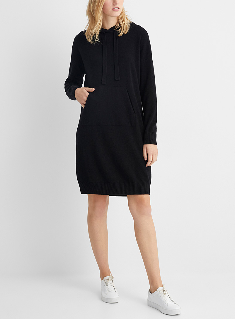 United Colors of Benetton Black Knitted hoodie dress for women
