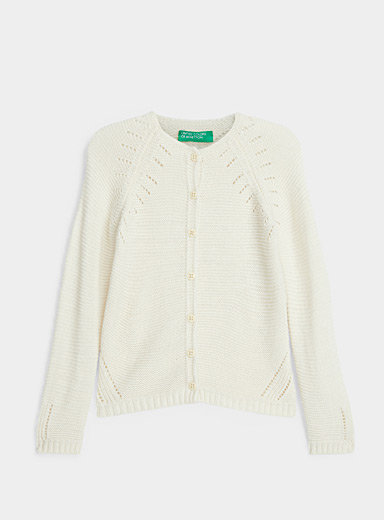 United Colors of Benetton Ivory White Pointelle knit cardigan  Kids for women
