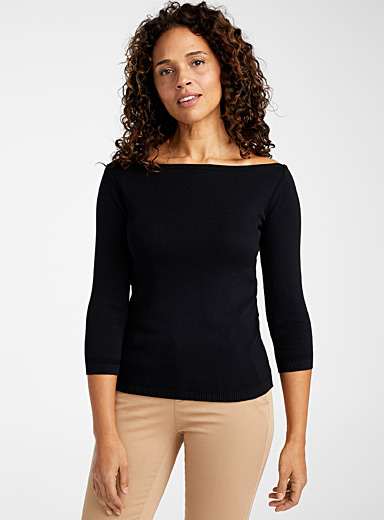 United Colors of Benetton Black Boat-neck cotton sweater for women