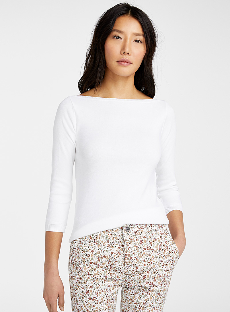 United Colors of Benetton White Boat-neck cotton sweater for women