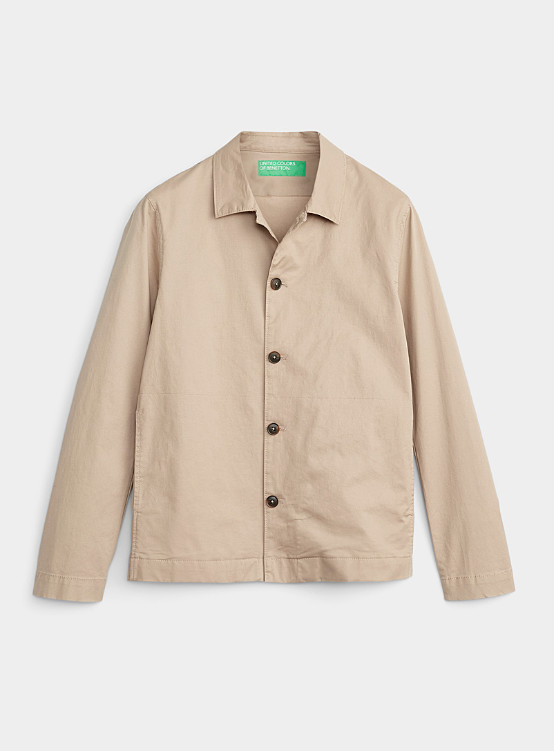 United Colors of Benetton Ivory White Trench coat-like overshirt for men