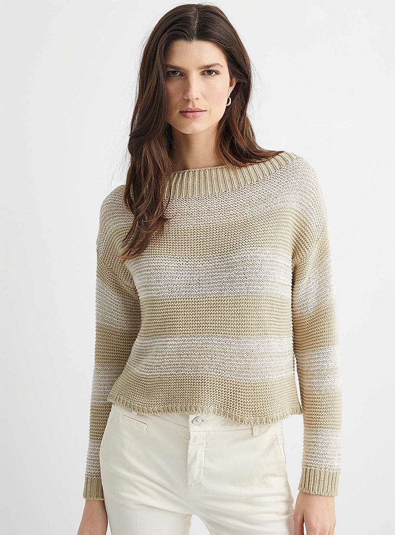 United Colors of Benetton Cream Beige Sparkly stripe sweater for women