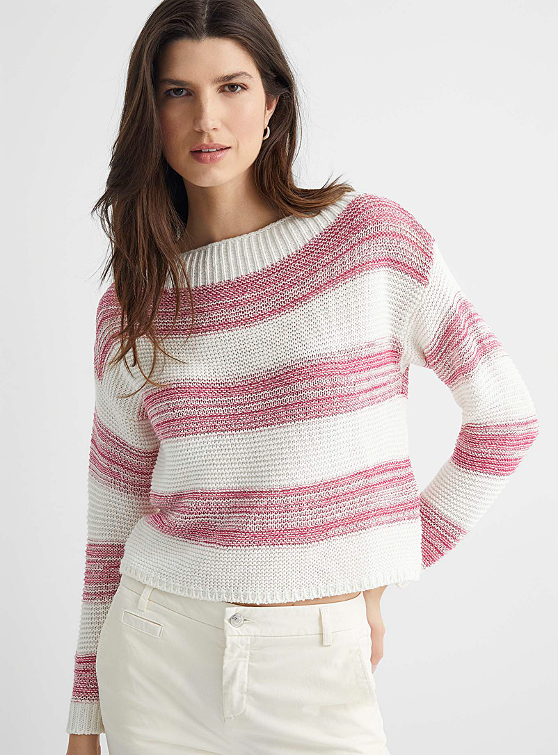United Colors of Benetton Medium Pink Sparkly stripe sweater for women