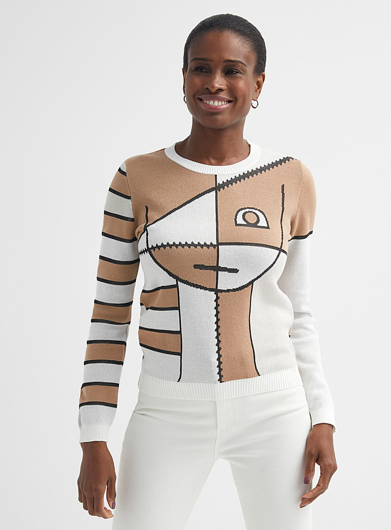 United Colors of Benetton Cream Beige Cubist face sweater for women
