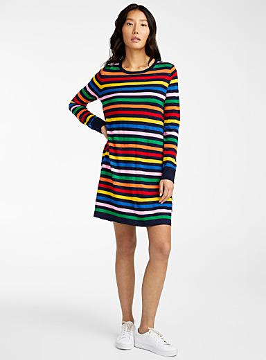 United Colors of Benetton Patterned Black Candy stripe sweater dress for women