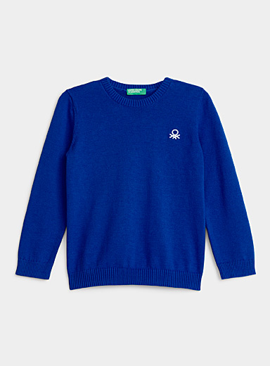 United Colors of Benetton Sapphire Blue Colourful cotton knit sweater  Kids for women