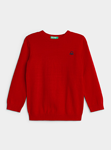 United Colors of Benetton Red Colourful cotton knit sweater  Kids for women