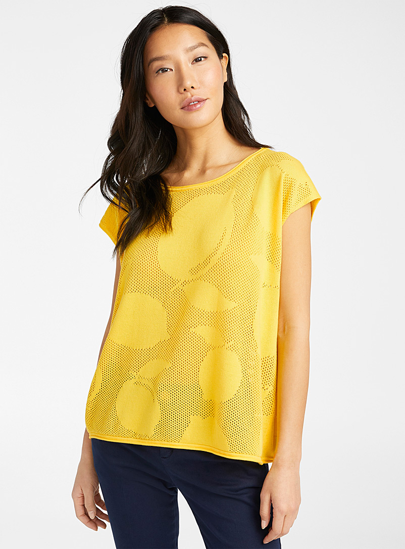 United Colors of Benetton Dark Yellow Lemonade openwork sweater for women