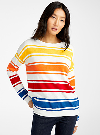 United Colors of Benetton Patterned White Vibrant stripe sweater for women