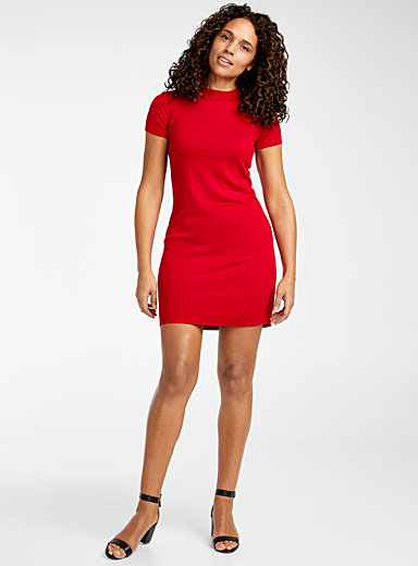 United Colors of Benetton Red Short-sleeve sweater dress for women