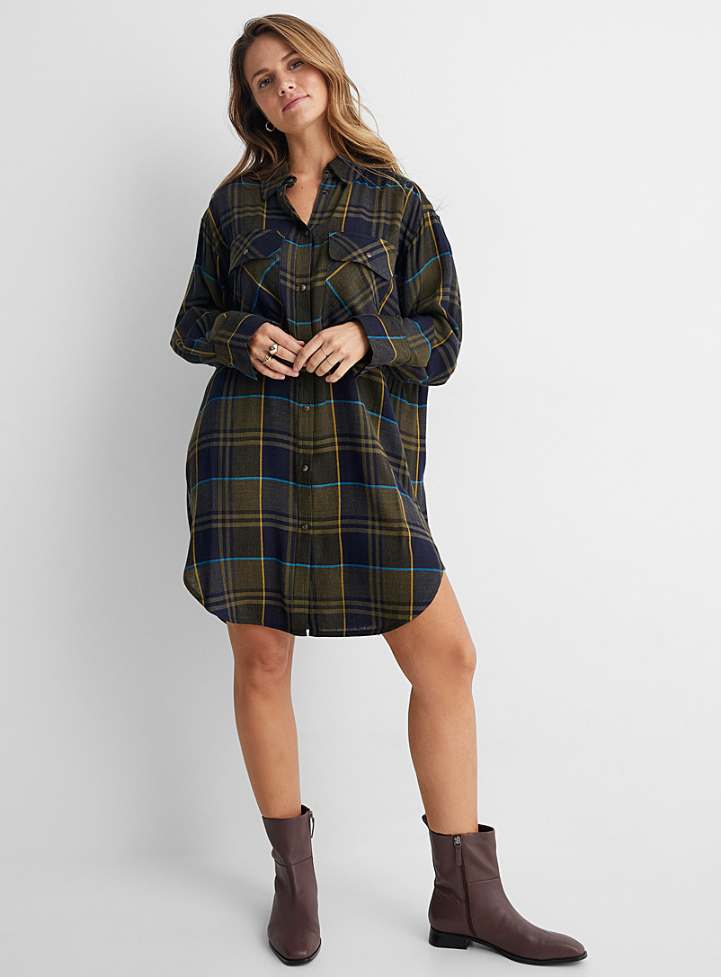 United Colors of Benetton Patterned Blue Rustic check shirt dress for women