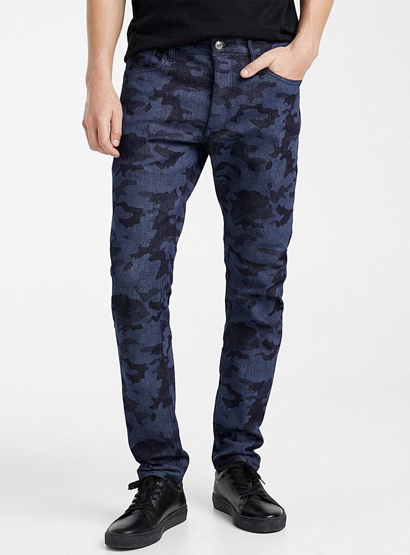 United Colors of Benetton: La jeans camouflage indigo  Coupe étroite Bleu pour homme