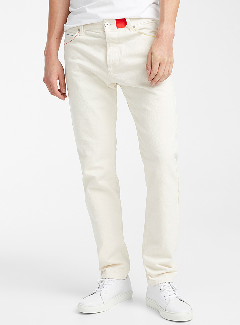 United Colors of Benetton Ivory White Colourful topstitching beige jean  Straight fit for men