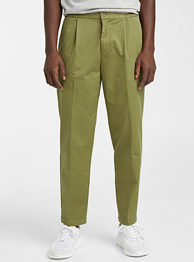 Flat pleat elastic waist chinos