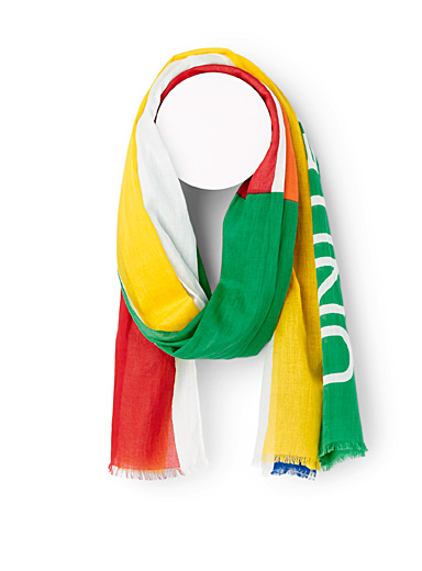 United Colors of Benetton White Colourful scarf for men