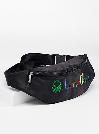 United Colors of Benetton Black Colourful signature belt bag for men
