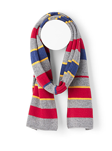 United Colors of Benetton Grey Colourful stripe knit scarf for men