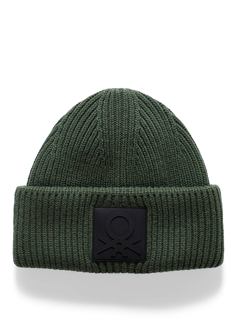 United Colors of Benetton Mossy Green Coloured ribbed tuque for men