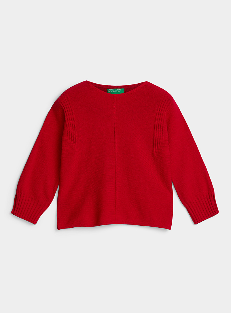 United Colors of Benetton Red Angular-ribbed wool sweater for women